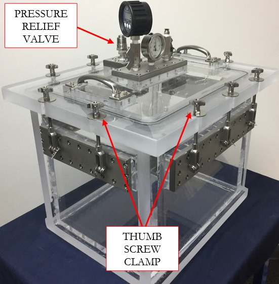 Acrylic Ppressure and Vacuum Chamber with Pressure Relief Valve and Thumb Screw Clamps