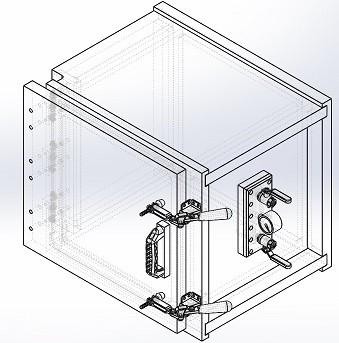 clear acrylic vacuum chamber hinged side door with clamps