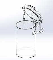 cylindrical clear acrylic vacuum chamber gas spring supported lid