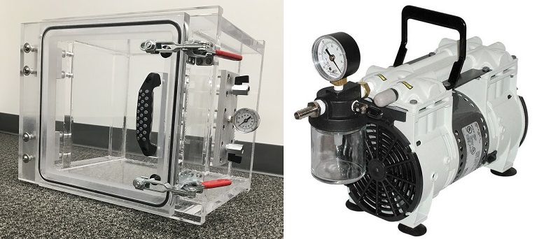 Vacuum Chamber and Pump System, Front Loading Acrylic Chamber 10 inch Cube, 3.5 CFM Oil Free Dry Vacuum Pump