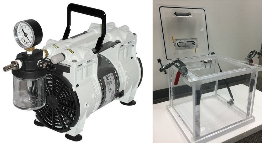 Vacuum Chamber and Pump System, Top Loading Hinged Spring Supported, Acrylic Chamber 10 inch Cube, 3.5 CFM Oil Free Dry Vacuum Pump