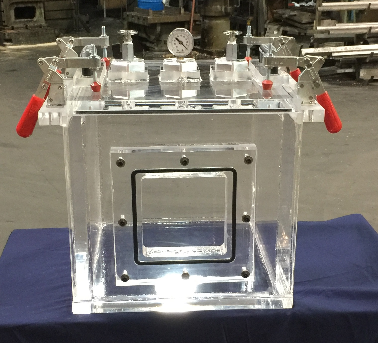 modified 14 inch cube vacuum chamber for degassing