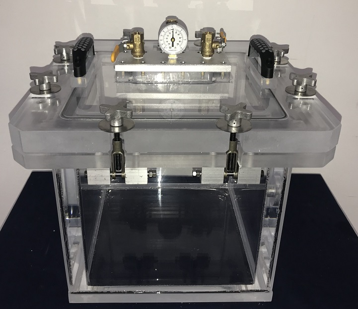 Pressure and Vacuum Chamber, Clear Acrylic, 18 inch Cube, Full Vacuum to 5 PSIG