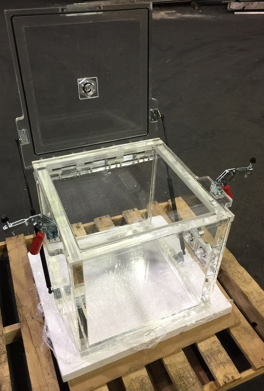 Top Load, Hinged Lid, 10 inch Clear Acrylic Vacuum Chamber; 1000 cubic inch, 4.3 Gallon, 16.4 Liters