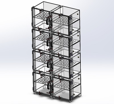 Desiccator Cabinet, Clear Acrylic, 8 Door Dry Box, 24W, 12D, 48H