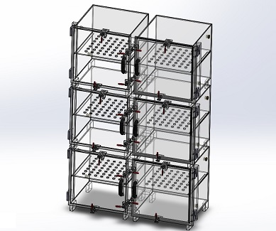 Desiccator Cabinet, Clear Acrylic, 6 Door Dry Box, 24W, 12D, 36H